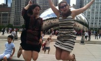Larry & i do a bean leap in Chicago!