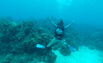My first underwater leap! Caribbean joy!
