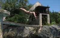 Perilous dive leap in Negril!