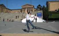 Rocky steps! (jelly legs after. wimpy leap!)