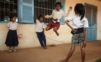 Cambodian kids! Over the string leap!